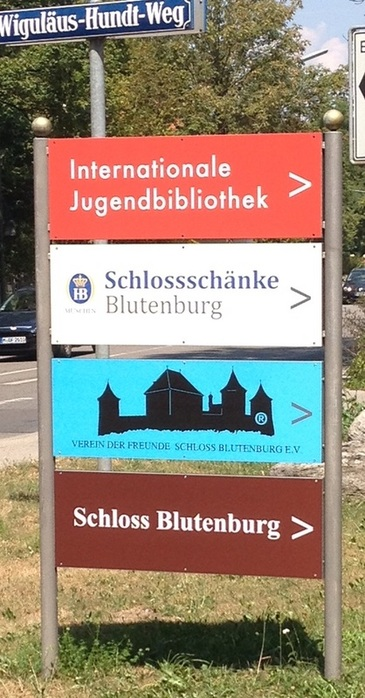Sign post pointing to the International Youth Library in Munich